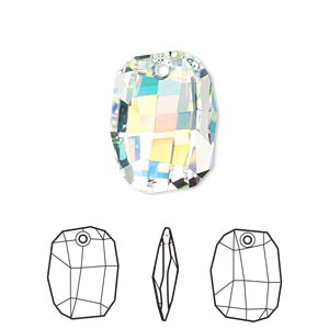 drop, swarovski crystals, crystal passions, crystal ab, 19x14mm faceted graphic pendant (6685). sold individually.