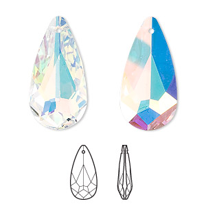 drop, swarovski crystals, crystal passions, crystal ab, 24x12mm faceted teardrop pendant (6100). sold individually.