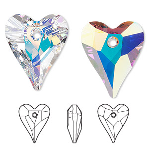 drop, swarovski crystals, crystal passions, crystal ab, 27x22mm faceted wild heart pendant (6240). sold individually.