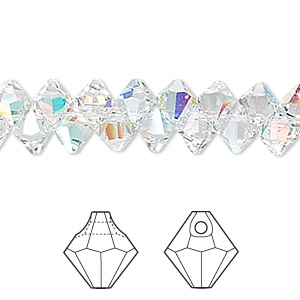 drop, swarovski crystals, crystal passions, crystal ab, 6mm faceted bicone pendant (6301). sold per pkg of 144 (1 gross).