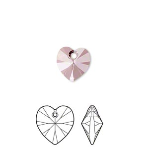 drop, swarovski crystals, crystal passions, crystal antique pink, 10x10mm xilion heart pendant (6228). sold per pkg of 24.