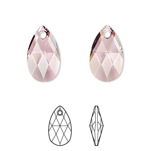 drop, swarovski crystals, crystal passions, crystal antique pink, 16x9mm faceted pear pendant (6106). sold individually.