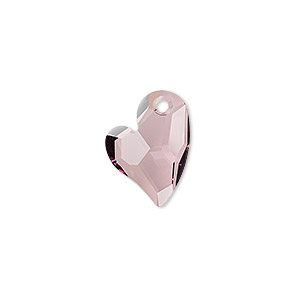 drop, swarovski crystals, crystal passions, crystal antique pink, 17x13mm faceted devoted 2 u heart pendant (6261). sold per pkg 6.