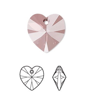 drop, swarovski crystals, crystal passions, crystal antique pink, 18x18mm xilion heart pendant (6228). sold individually.