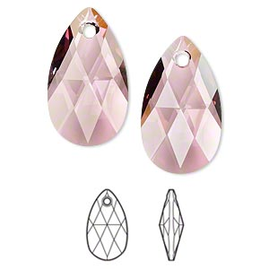 drop, swarovski crystals, crystal passions, crystal antique pink, 22x13mm faceted pear pendant (6106). sold per pkg of 24.