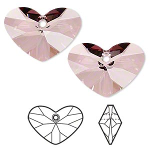 drop, swarovski crystals, crystal passions, crystal antique pink, 27x19mm faceted crazy 4 u heart pendant (6260). sold individually.