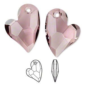 drop, swarovski crystals, crystal passions, crystal antique pink, 27x20mm faceted devoted 2 u heart pendant (6261). sold individually.