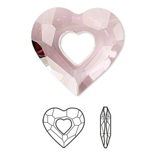 drop, swarovski crystals, crystal passions, crystal antique pink, 27x26mm faceted miss u heart pendant (6262). sold per pkg of 4.