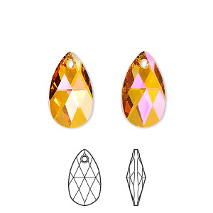 drop, swarovski crystals, crystal passions, crystal astral pink, 16x9mm faceted pear pendant (6106). sold per pkg of 24.