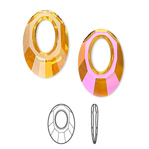 drop, swarovski crystals, crystal passions, crystal astral pink, 20x13.5mm faceted helios pendant (6040). sold per pkg of 6.