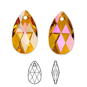 drop, swarovski crystals, crystal passions, crystal astral pink, 22x13mm faceted pear pendant (6106). sold per pkg of 24.