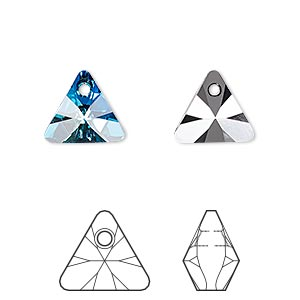 drop, swarovski crystals, crystal passions, crystal bermuda blue p, 12mm xilion triangle pendant (6628). sold per pkg of 12.