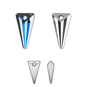 drop, swarovski crystals, crystal passions, crystal bermuda blue p, 18x10mm spike pendant (6480). sold per pkg of 6.