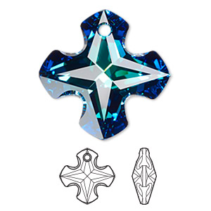 drop, swarovski crystals, crystal passions, crystal bermuda blue p, 28mm faceted greek cross pendant (6867). sold individually.