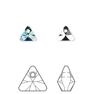 drop, swarovski crystals, crystal passions, crystal bermuda blue p, 8mm xilion triangle pendant (6628). sold per pkg of 6.