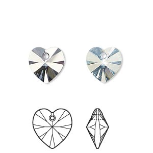 drop, swarovski crystals, crystal passions, crystal blue shade, 10x10mm xilion heart pendant (6228). sold per pkg of 24.