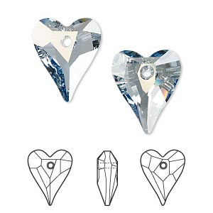 drop, swarovski crystals, crystal passions, crystal blue shade, 17x14mm faceted wild heart pendant (6240). sold individually.