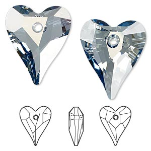 drop, swarovski crystals, crystal passions, crystal blue shade, 27x22mm faceted wild heart pendant (6240). sold per pkg of 6.