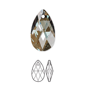 drop, swarovski crystals, crystal passions, crystal bronze shade, 22x13mm faceted pear pendant (6106). sold per pkg of 24.