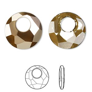 drop, swarovski crystals, crystal passions, crystal bronze shade, 28mm faceted victory pendant (6041). sold per pkg of 6.