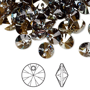 drop, swarovski crystals, crystal passions, crystal bronze shade, 8mm xilion rivoli pendant (6428). sold per pkg of 144 (1 gross).
