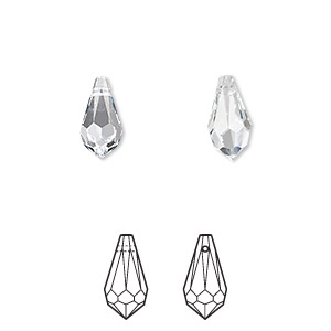 drop, swarovski crystals, crystal passions, crystal clear, 11x5.5mm faceted teardrop pendant (6000). sold per pkg of 2.