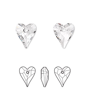 drop, swarovski crystals, crystal passions, crystal clear, 12x10mm faceted wild heart pendant (6240). sold per pkg of 2.