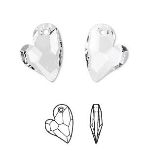 drop, swarovski crystals, crystal passions, crystal clear, 17x13mm faceted devoted 2 u heart pendant (6261). sold per pkg of 6.