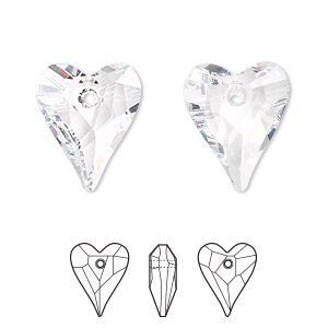drop, swarovski crystals, crystal passions, crystal clear, 17x14mm faceted wild heart pendant (6240). sold per pkg of 72.