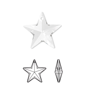 drop, swarovski crystals, crystal passions, crystal clear, 20x19mm faceted star pendant (6714). sold individually.