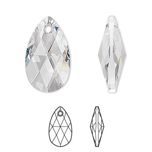 drop, swarovski crystals, crystal passions, crystal clear, 22x13mm faceted pear pendant (6106). sold individually.