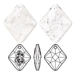 drop, swarovski crystals, crystal passions, crystal clear, 26mm faceted grow rhombus pendant (6926). sold individually.