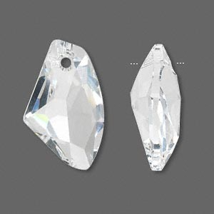drop, swarovski crystals, crystal passions, crystal clear, 27x16mm faceted galactic vertical pendant (6656). sold individually.