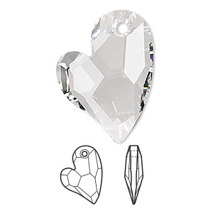 drop, swarovski crystals, crystal passions, crystal clear, 27x20mm faceted devoted 2 u heart pendant (6261). sold per pkg of 4.