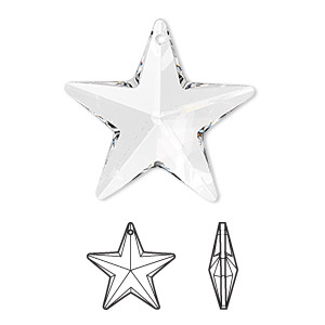 drop, swarovski crystals, crystal passions, crystal clear, 28x27mm faceted star pendant (6714). sold individually.