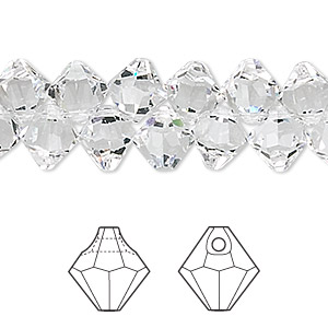 drop, swarovski crystals, crystal passions, crystal clear, 8mm faceted bicone pendant (6301). sold per pkg of 12.