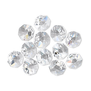 drop, swarovski crystals, crystal passions, crystal clear, 8x8mm faceted octagon pendant (6401). sold per pkg of 12.