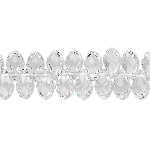 drop, swarovski crystals, crystal passions, crystal clear, 9x5mm faceted briolette pendant (6007). sold per pkg of 48.