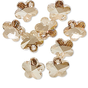drop, swarovski crystals, crystal passions, crystal golden shadow, 12x12mm faceted flower pendant (6744). sold per pkg of 24.