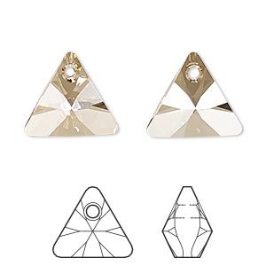 drop, swarovski crystals, crystal passions, crystal golden shadow, 16mm xilion triangle pendant (6628). sold individually.
