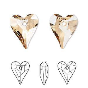 drop, swarovski crystals, crystal passions, crystal golden shadow, 17x14mm faceted wild heart pendant (6240). sold per pkg of 12.