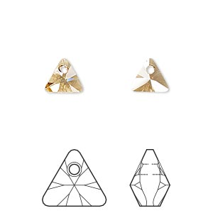 drop, swarovski crystals, crystal passions, crystal golden shadow, 8mm xilion triangle pendant (6628). sold per pkg of 24.