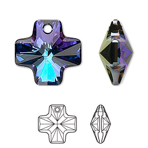 drop, swarovski crystals, crystal passions, crystal heliotrope, 20x20mm faceted cross pendant (6866). sold individually.
