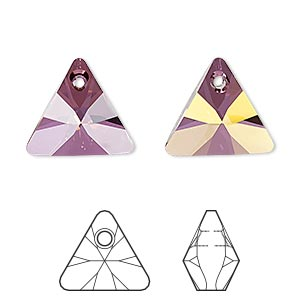 drop, swarovski crystals, crystal passions, crystal lilac shadow, 16mm xilion triangle pendant (6628). sold per pkg of 6.