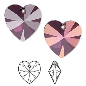 drop, swarovski crystals, crystal passions, crystal lilac shadow, 28x28mm xilion heart pendant (6228). sold individually.