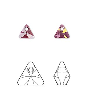 drop, swarovski crystals, crystal passions, crystal lilac shadow, 8mm xilion triangle pendant (6628). sold per pkg of 24.