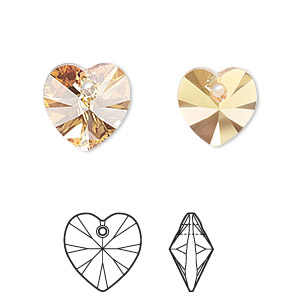 drop, swarovski crystals, crystal passions, crystal metallic sunshine, 10x10mm xilion heart pendant (6228). sold per pkg of 2.