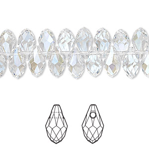 drop, swarovski crystals, crystal passions, crystal moonlight, 9x5mm faceted briolette pendant (6007). sold per pkg of 48.