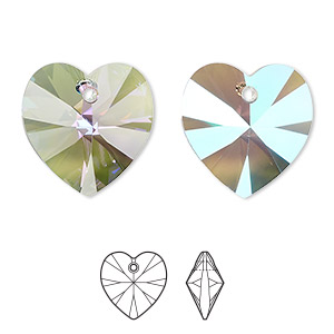 drop, swarovski crystals, crystal passions, crystal paradise shine, 18x18mm xilion heart pendant (6228). sold individually.