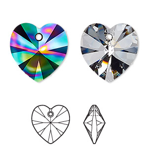 drop, swarovski crystals, crystal passions, crystal rainbow dark, 18mm xilion heart pendant (6228). sold per pkg of 24.